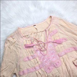 FREE PEOPLE PEACH EMBROIDERED TUNIC LARGE